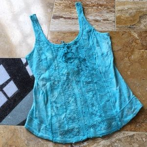 Free People aqua/white tie dye/sexy lace-up front